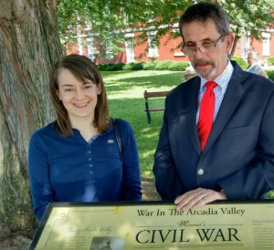 Molly Kodner, Associate Archivist of the Missouri History Museum, with MCWHF Executive Director Greg Wolk, Ironton, Missouri.